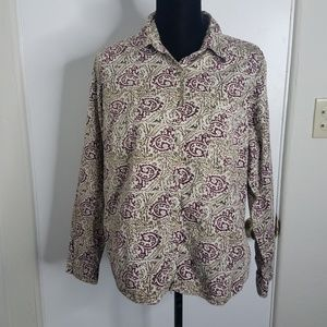 Columbia Tan Button Down Long Sleeve Blouse XL